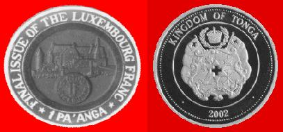 2002 1 PA´ANGA FINAL ISSUE OF THE LUXEMBOURG FRANC 003